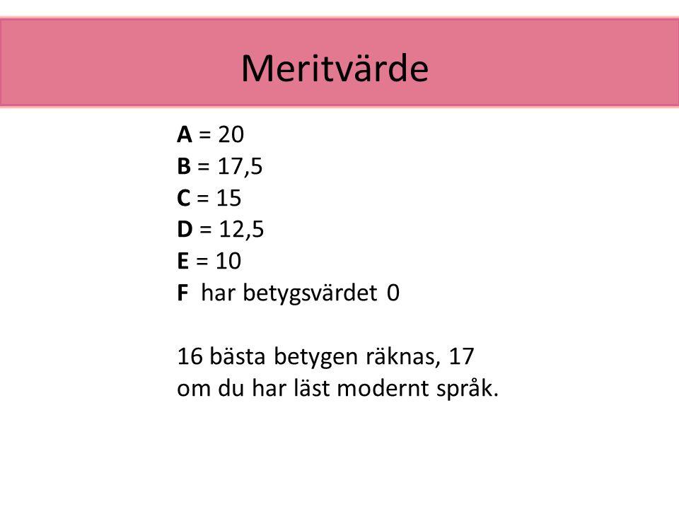 Meritvärde A = 20 B = 17,5 C = 15 D = 12,5 E = 10 F har betygsvärdet 0 16 bästa betygen räknas, 17 om du har läst modernt språk.