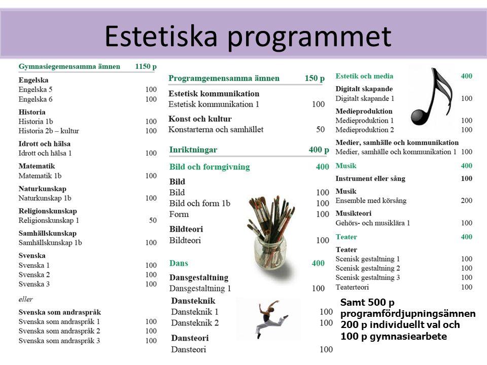 Estetiska programmet Samt 500 p programfördjupningsämnen 200 p individuellt val och 100 p gymnasiearbete