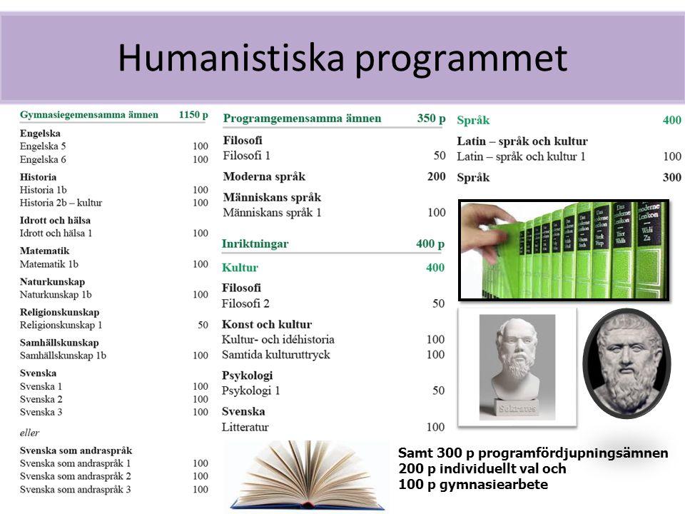 Humanistiska programmet Samt 300 p programfördjupningsämnen 200 p individuellt val och 100 p gymnasiearbete