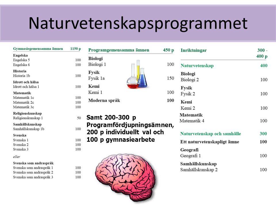Naturvetenskapsprogrammet Samt 200-300 p Programfördjupningsämnen, 200 p individuellt val och 100 p gymnasiearbete
