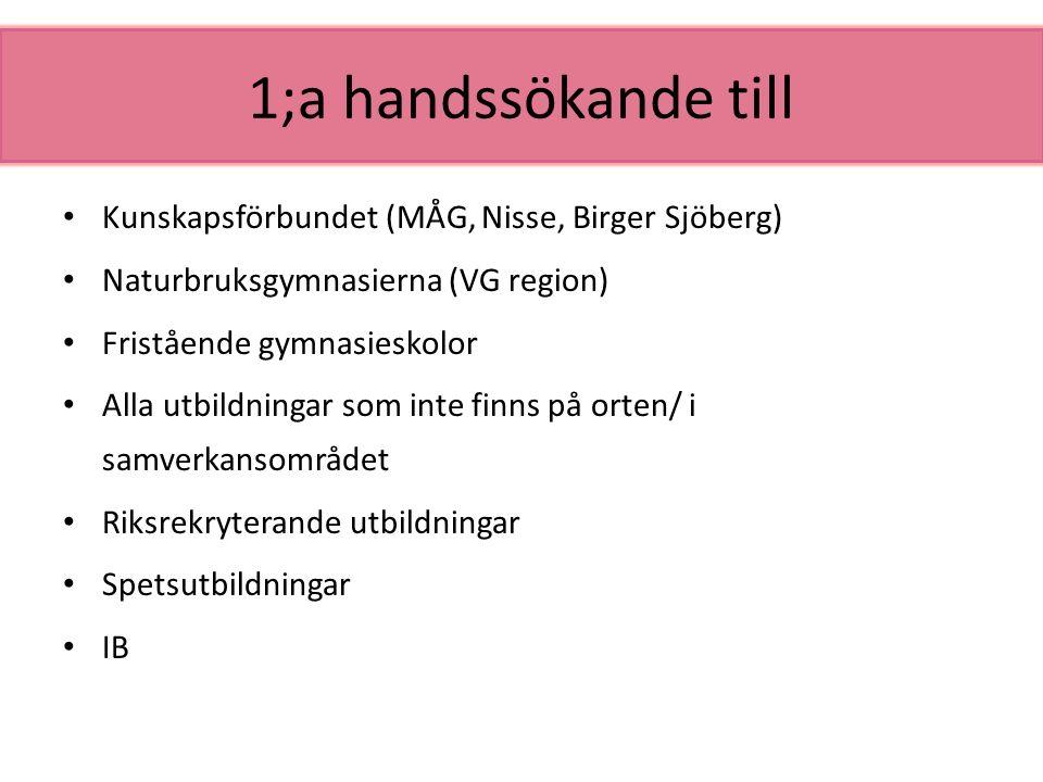 1;a handssökande till Kunskapsförbundet (MÅG, Nisse, Birger Sjöberg) Naturbruksgymnasierna (VG region) Fristående gymnasieskolor Alla utbildningar som
