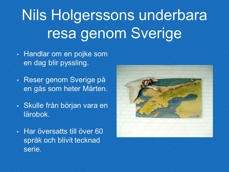 Nils Holgerssons underbara resa genom Sverige Handlar om en pojke som en dag blir pyssling.