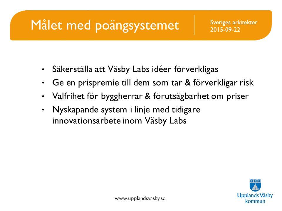 www.upplandsvasby.se Sveriges arkitekter 2015-09-22 Målet med poängsystemet Säkerställa att Väsby Labs idéer förverkligas Ge en prispremie till dem som tar & förverkligar risk Valfrihet för byggherrar & förutsägbarhet om priser Nyskapande system i linje med tidigare innovationsarbete inom Väsby Labs