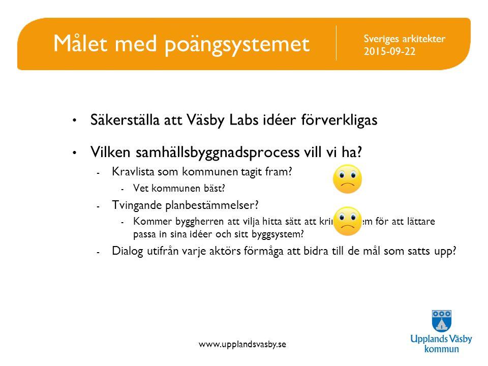 www.upplandsvasby.se Sveriges arkitekter 2015-09-22 Grundstomme i Poängsystemet Ett markpris Fem fokuspunkter Tre klasser