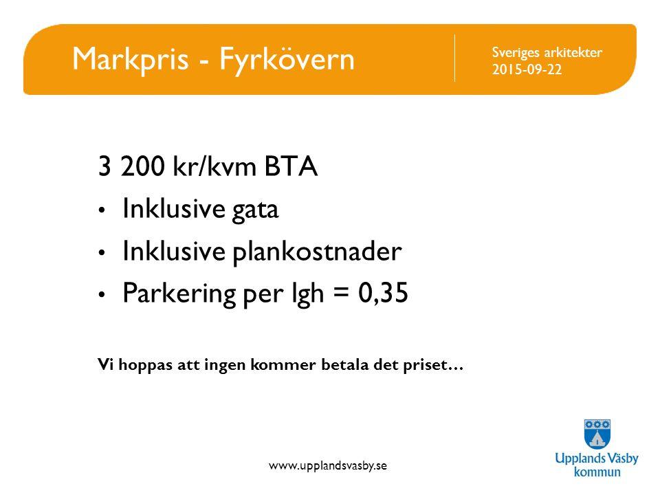 www.upplandsvasby.se Sveriges arkitekter 2015-09-22 Markpris - Fyrkövern 3 200 kr/kvm BTA Inklusive gata Inklusive plankostnader Parkering per lgh = 0,35 Vi hoppas att ingen kommer betala det priset…