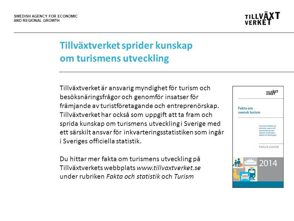 SWEDISH AGENCY FOR ECONOMIC AND REGIONAL GROWTH Tillväxtverket sprider kunskap om turismens utveckling Tillväxtverket är ansvarig myndighet för turism