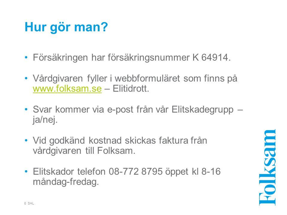 Hur gör man? Försäkringen har försäkringsnummer K 64914. Vårdgivaren fyller i webbformuläret som finns på www.folksam.se – Elitidrott. www.folksam.se