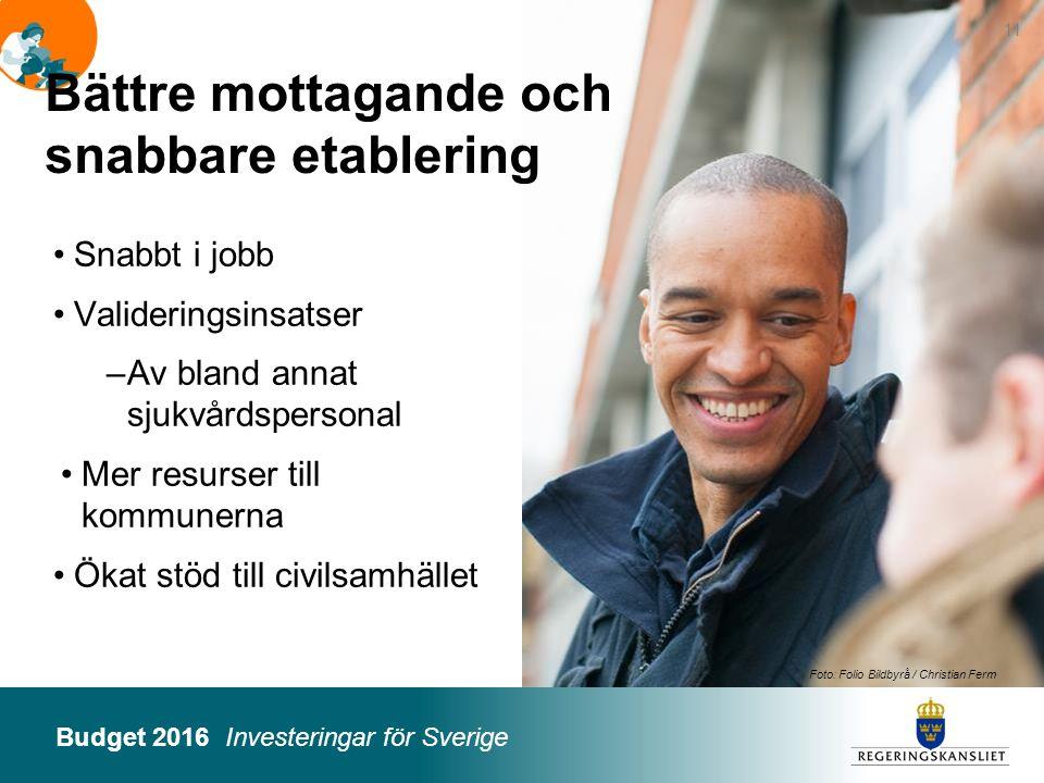 Budget 2016 Investeringar för Sverige Foto: Folio Bildbyrå / Christian Ferm Snabbt i jobb Valideringsinsatser –Av bland annat sjukvårdspersonal Mer re