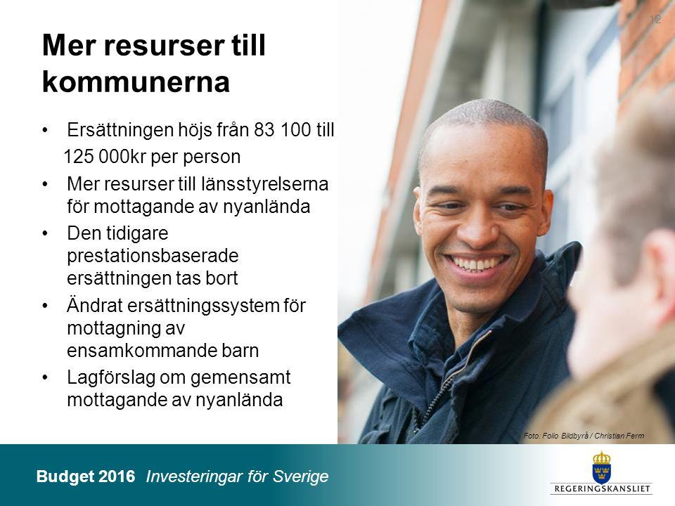 Budget 2016 Investeringar för Sverige Foto: Folio Bildbyrå / Christian Ferm Mer resurser till kommunerna Ersättningen höjs från 83 100 till 125 000kr
