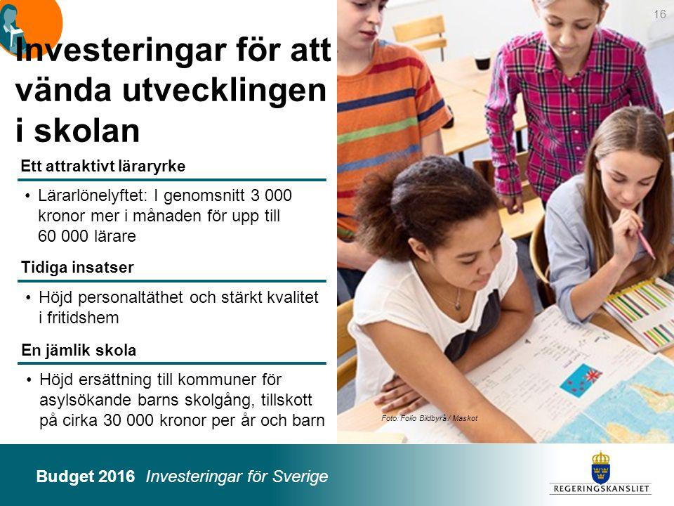 Budget 2016 Investeringar för Sverige Foto: Folio Bildbyrå / Maskot Höjd ersättning till kommuner för asylsökande barns skolgång, tillskott på cirka 3
