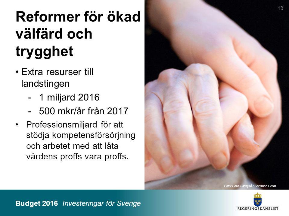 Budget 2016 Investeringar för Sverige Foto: Folio Bildbyrå / Christian Ferm Reformer för ökad välfärd och trygghet Extra resurser till landstingen -1