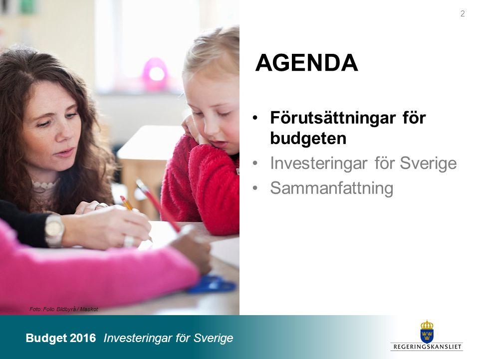Budget 2016 Investeringar för Sverige Foto: Folio Bildbyrå / Maskot AGENDA Förutsättningar för budgeten Investeringar för Sverige Sammanfattning 2