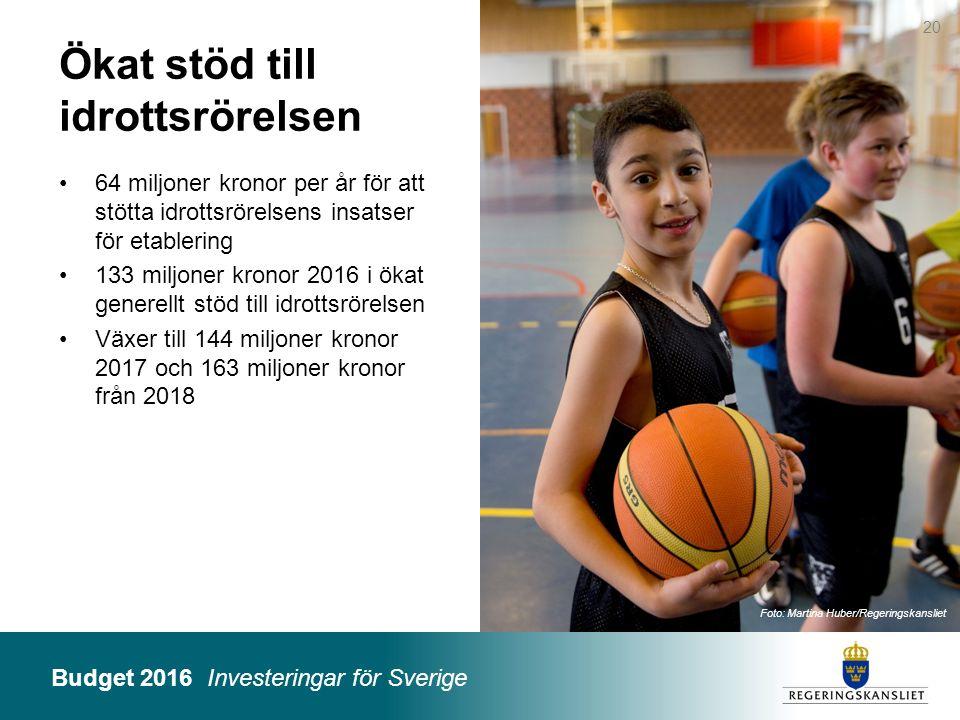 Budget 2016 Investeringar för Sverige Foto: Martina Huber/Regeringskansliet Ökat stöd till idrottsrörelsen 64 miljoner kronor per år för att stötta id