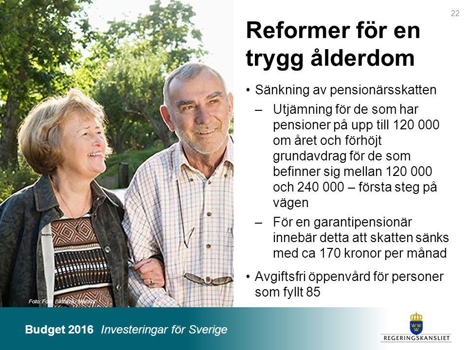 Budget 2016 Investeringar för Sverige Foto: Folio Bildbyrå / Maskot Reformer för en trygg ålderdom Sänkning av pensionärsskatten –Utjämning för de som