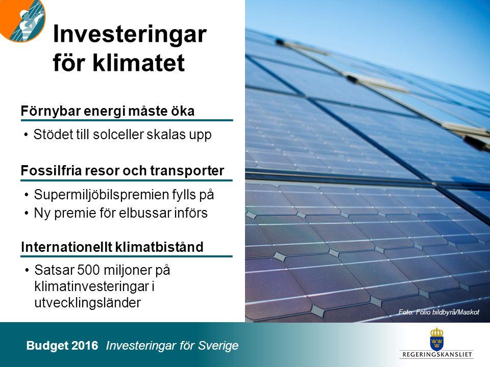 Budget 2016 Investeringar för Sverige Investeringar för klimatet Foto: Folio bildbyrå/Maskot Satsar 500 miljoner på klimatinvesteringar i utvecklingsl