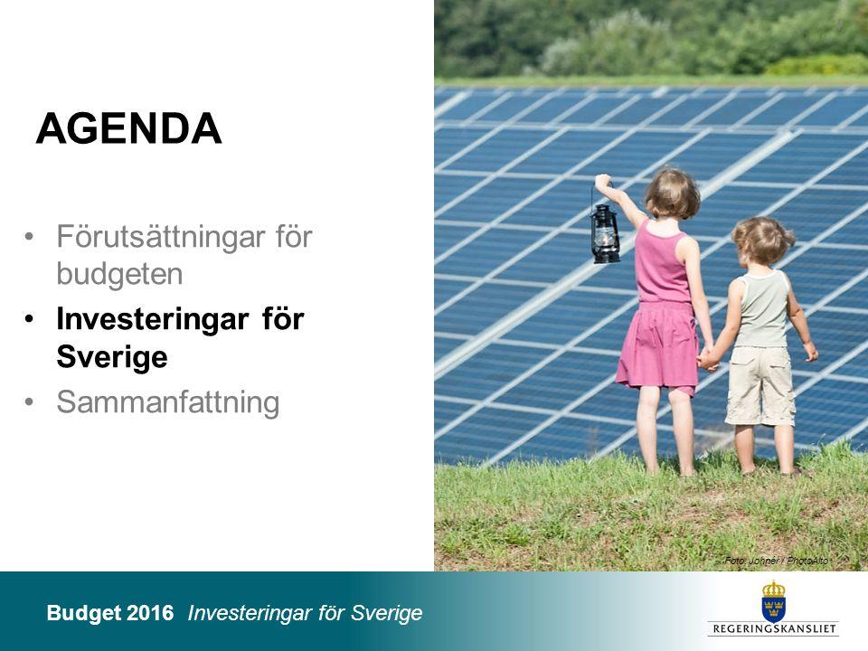 Budget 2016 Investeringar för Sverige Foto: Folio Bildbyrå / Maskot 25 Miljarder kronor 2016201720182019 Klimatfinansiering i utvecklingsländer0,5 Solceller0,20,4 Miljöbilspaket0,10,2 Miljö- och energisatsningar0,4 Totalt1,21,51,6 Offentligfinansiell effekt Investeringar i klimatomställning och energi – reformer BP16
