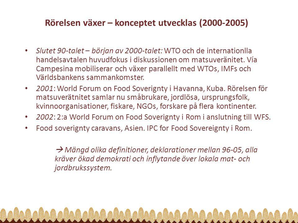 Rörelsen växer – konceptet utvecklas (2000-2005) Slutet 90-talet – början av 2000-talet: WTO och de internationlla handelsavtalen huvudfokus i diskussionen om matsuveränitet.