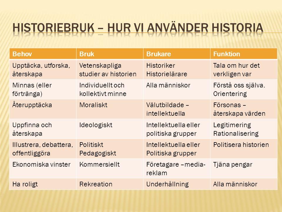 BehovBrukBrukareFunktion Upptäcka, utforska, återskapa Vetenskapliga studier av historien Historiker Historielärare Tala om hur det verkligen var Minn