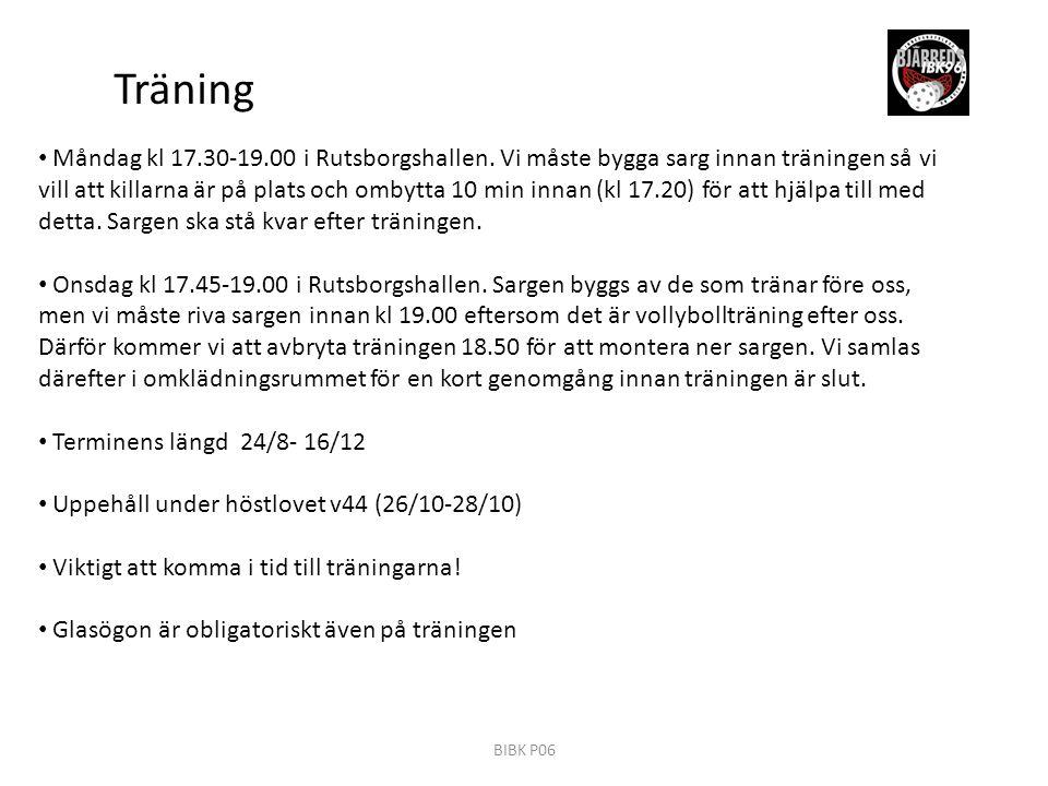 Träning Måndag kl 17.30-19.00 i Rutsborgshallen.