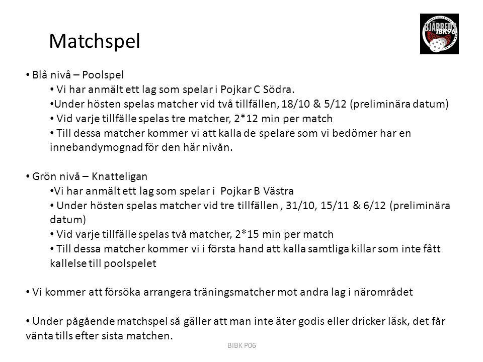 Matchspel Blå nivå – Poolspel Vi har anmält ett lag som spelar i Pojkar C Södra.