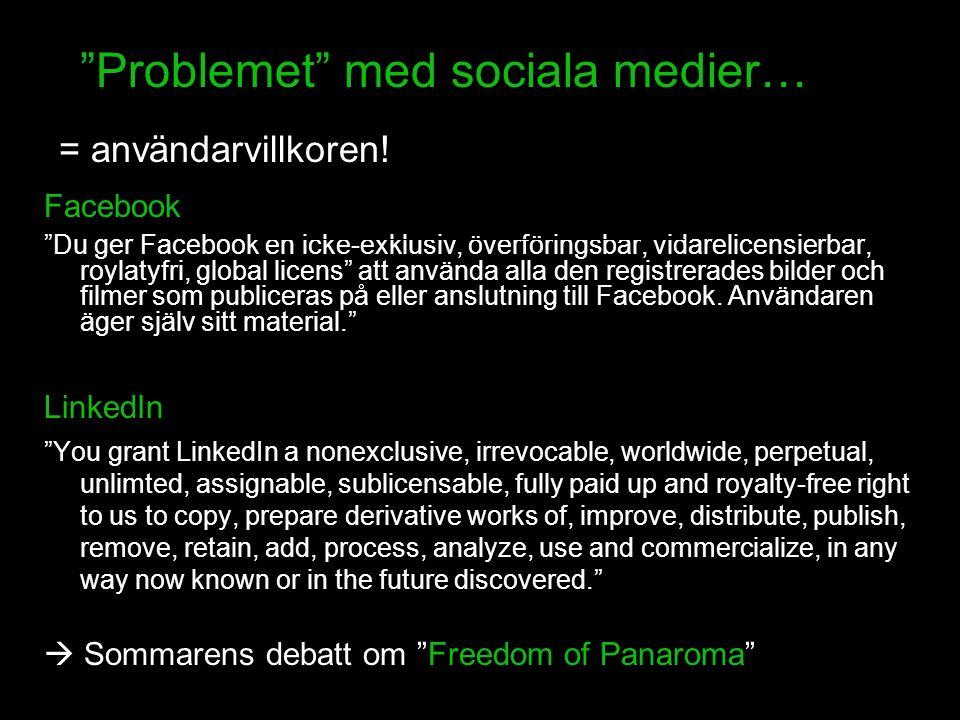 Problemet med sociala medier… = användarvillkoren.