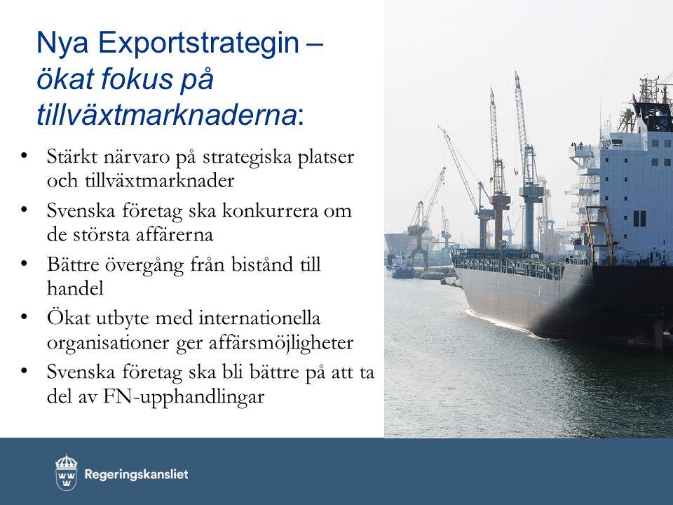 Nya Exportstrategin – ökat fokus på tillväxtmarknaderna: Stärkt närvaro på strategiska platser och tillväxtmarknader Svenska företag ska konkurrera om de största affärerna Bättre övergång från bistånd till handel Ökat utbyte med internationella organisationer ger affärsmöjligheter Svenska företag ska bli bättre på att ta del av FN-upphandlingar