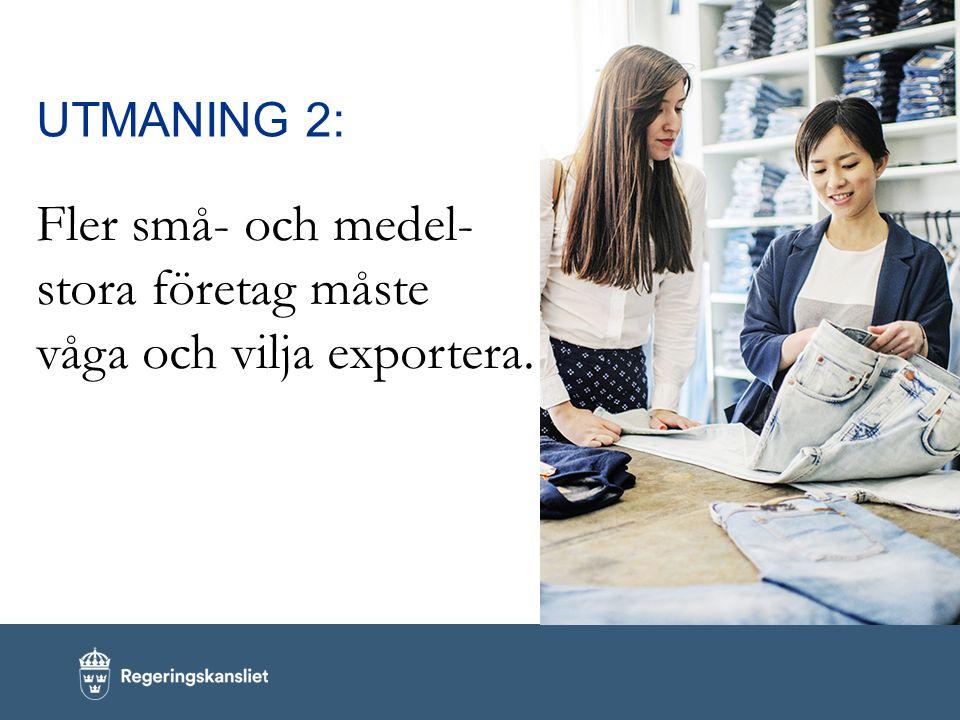UTMANING 2: Fler små- och medel- stora företag måste våga och vilja exportera.