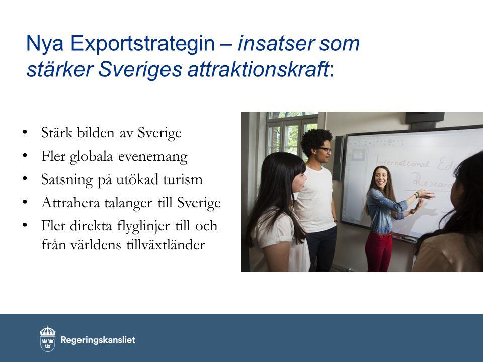 Nya Exportstrategin – insatser som stärker Sveriges attraktionskraft: Stärk bilden av Sverige Fler globala evenemang Satsning på utökad turism Attrahera talanger till Sverige Fler direkta flyglinjer till och från världens tillväxtländer