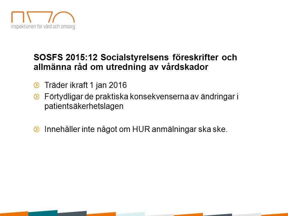 SOSFS 2015:12 Socialstyrelsens föreskrifter och allmänna råd om utredning av vårdskador Träder ikraft 1 jan 2016 Förtydligar de praktiska konsekvenserna av ändringar i patientsäkerhetslagen Innehåller inte något om HUR anmälningar ska ske.