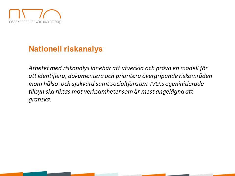 Nationell riskanalys Arbetet med riskanalys innebär att utveckla och pröva en modell för att identifiera, dokumentera och prioritera övergripande riskområden inom hälso- och sjukvård samt socialtjänsten.