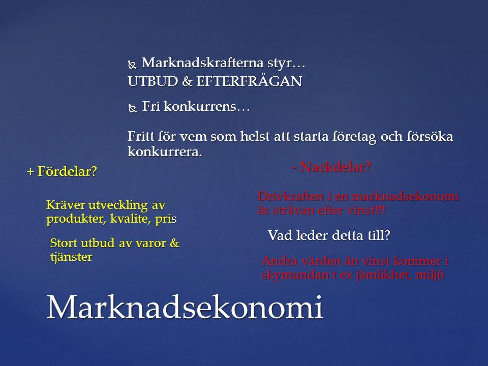  Fri konkurrens… Marknadsekonomi UTBUD & EFTERFRÅGAN + Fördelar.