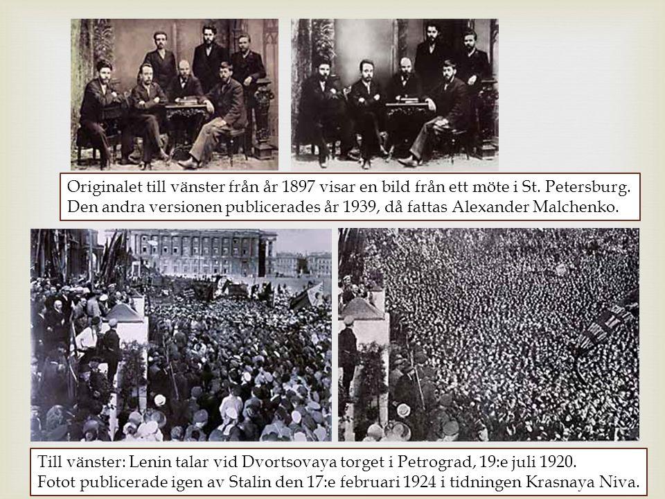 Originalet till vänster från år 1897 visar en bild från ett möte i St. Petersburg. Den andra versionen publicerades år 1939, då fattas Alexander Malch