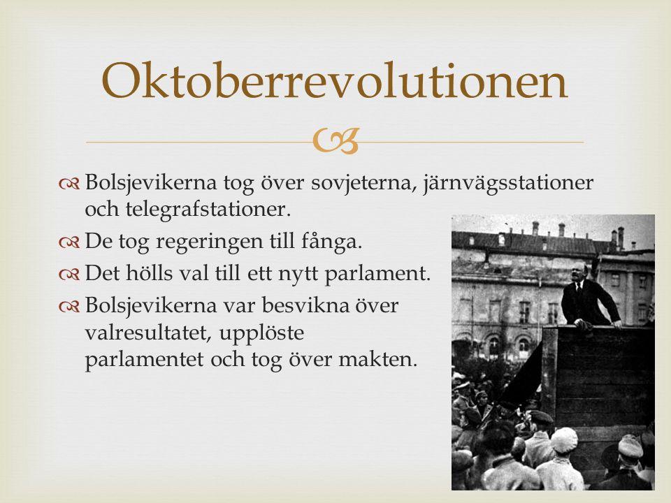   Bolsjevikerna tog över sovjeterna, järnvägsstationer och telegrafstationer.  De tog regeringen till fånga.  Det hölls val till ett nytt parlamen