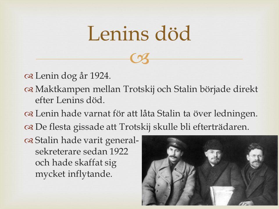   Lenin dog år 1924.  Maktkampen mellan Trotskij och Stalin började direkt efter Lenins död.  Lenin hade varnat för att låta Stalin ta över lednin