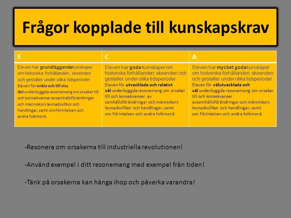 Frågor kopplade till kunskapskrav ECA Eleven har grundläggandekunskaper om historiska förhållanden, skeenden och gestalter under olika tidsperioder. E