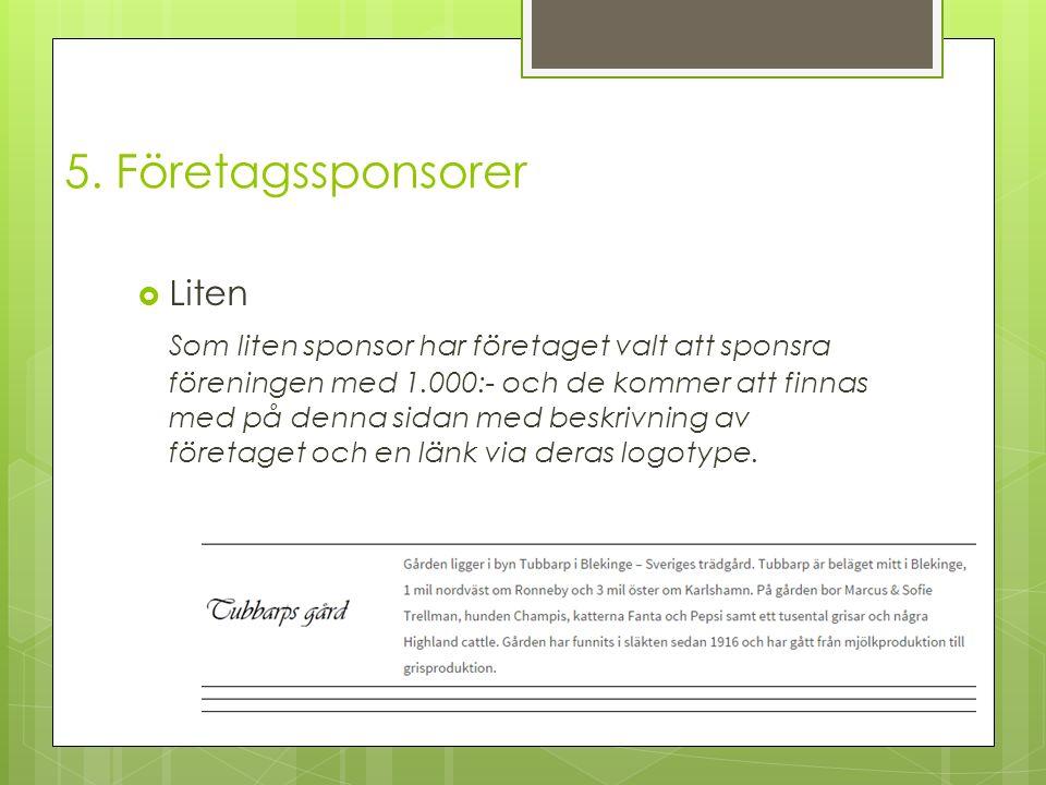  Liten Som liten sponsor har företaget valt att sponsra föreningen med 1.000:- och de kommer att finnas med på denna sidan med beskrivning av företaget och en länk via deras logotype.