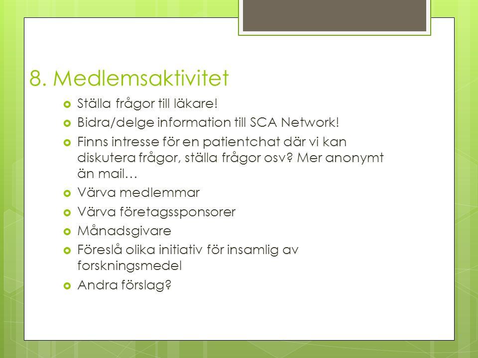  Ställa frågor till läkare. Bidra/delge information till SCA Network.