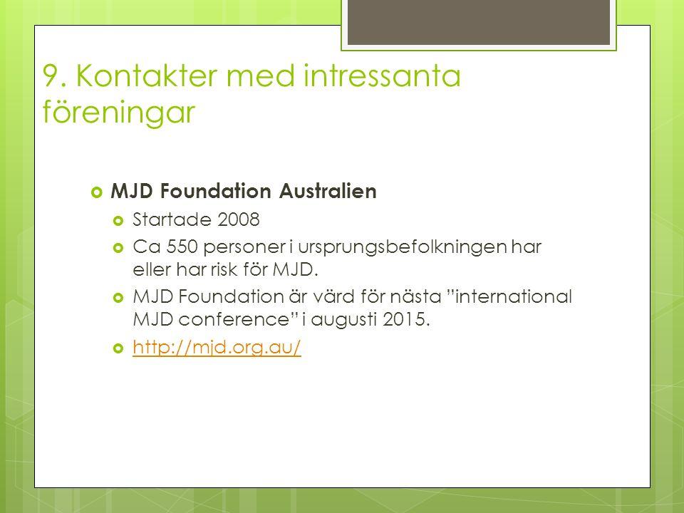 9. Kontakter med intressanta föreningar  MJD Foundation Australien  Startade 2008  Ca 550 personer i ursprungsbefolkningen har eller har risk för M