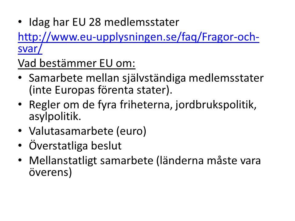 Idag har EU 28 medlemsstater http://www.eu-upplysningen.se/faq/Fragor-och- svar/ Vad bestämmer EU om: Samarbete mellan självständiga medlemsstater (in