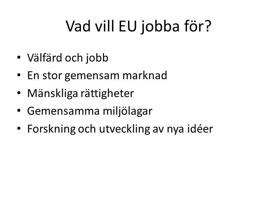 Vad vill EU jobba för? Välfärd och jobb En stor gemensam marknad Mänskliga rättigheter Gemensamma miljölagar Forskning och utveckling av nya idéer
