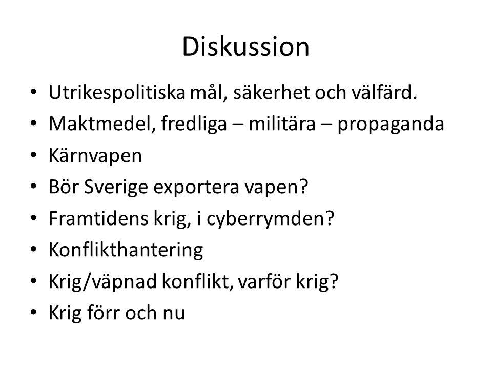 Diskussion Utrikespolitiska mål, säkerhet och välfärd. Maktmedel, fredliga – militära – propaganda Kärnvapen Bör Sverige exportera vapen? Framtidens k