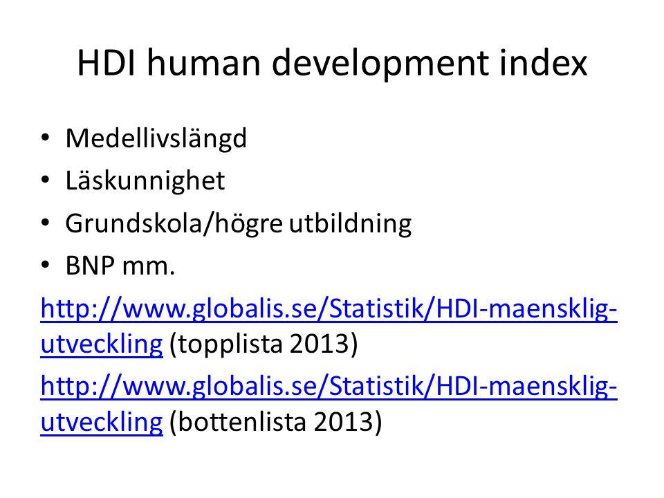 HDI human development index Medellivslängd Läskunnighet Grundskola/högre utbildning BNP mm. http://www.globalis.se/Statistik/HDI-maensklig- utveckling