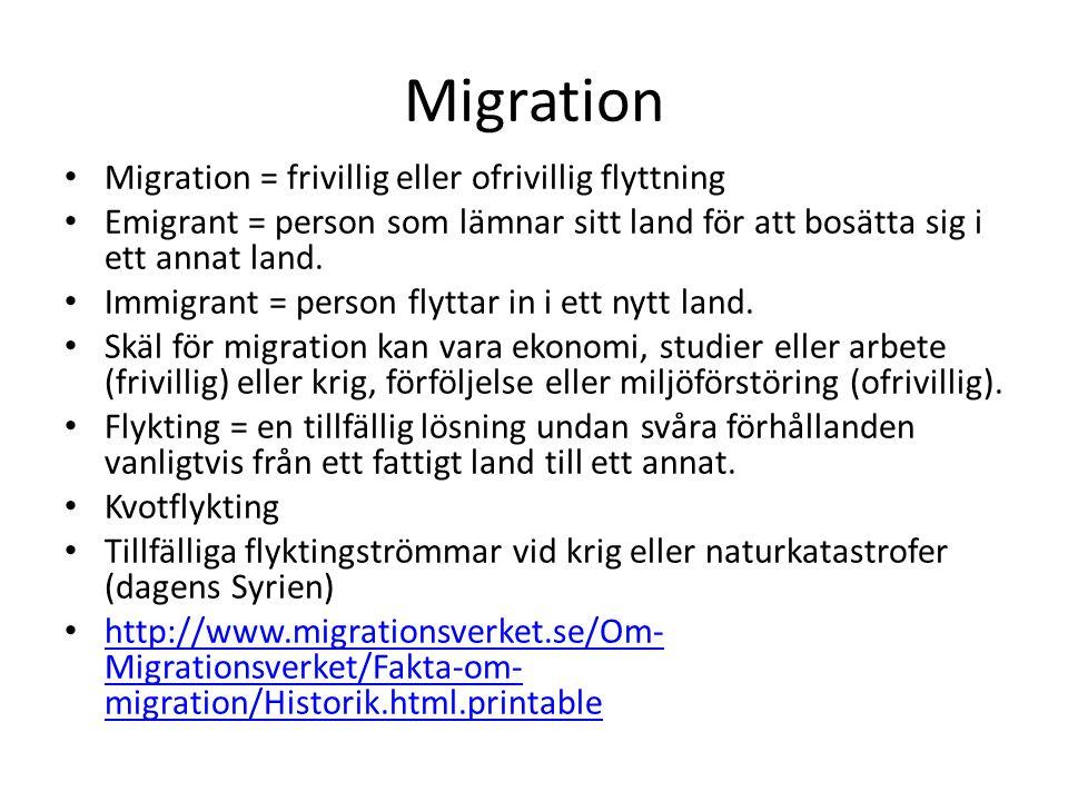 Migration Migration = frivillig eller ofrivillig flyttning Emigrant = person som lämnar sitt land för att bosätta sig i ett annat land. Immigrant = pe