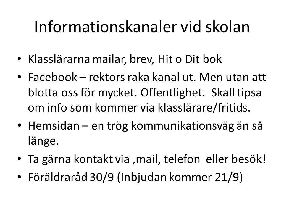 Informationskanaler vid skolan Klasslärarna mailar, brev, Hit o Dit bok Facebook – rektors raka kanal ut.