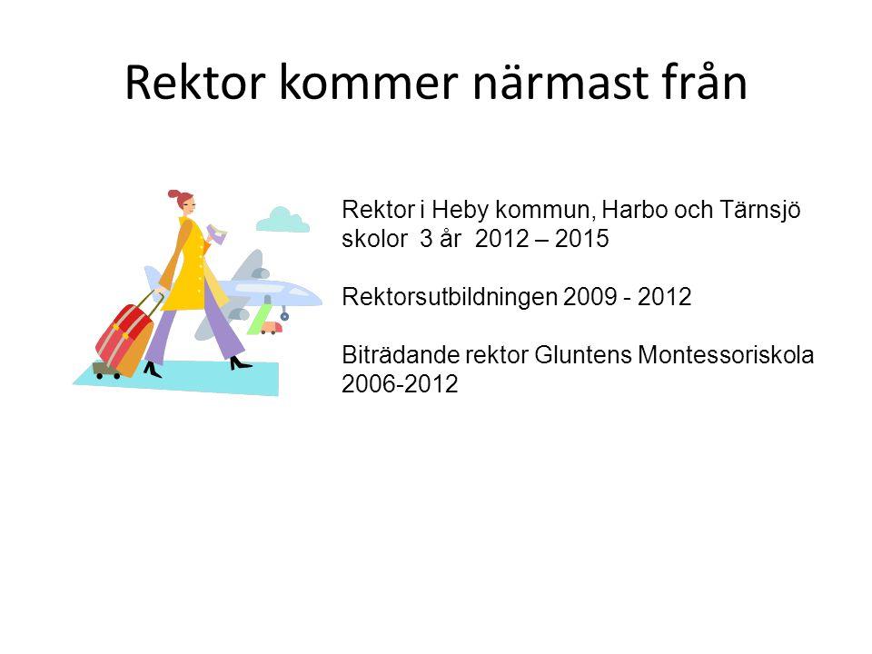 Rektor kommer närmast från Rektor i Heby kommun, Harbo och Tärnsjö skolor 3 år 2012 – 2015 Rektorsutbildningen 2009 - 2012 Biträdande rektor Gluntens Montessoriskola 2006-2012