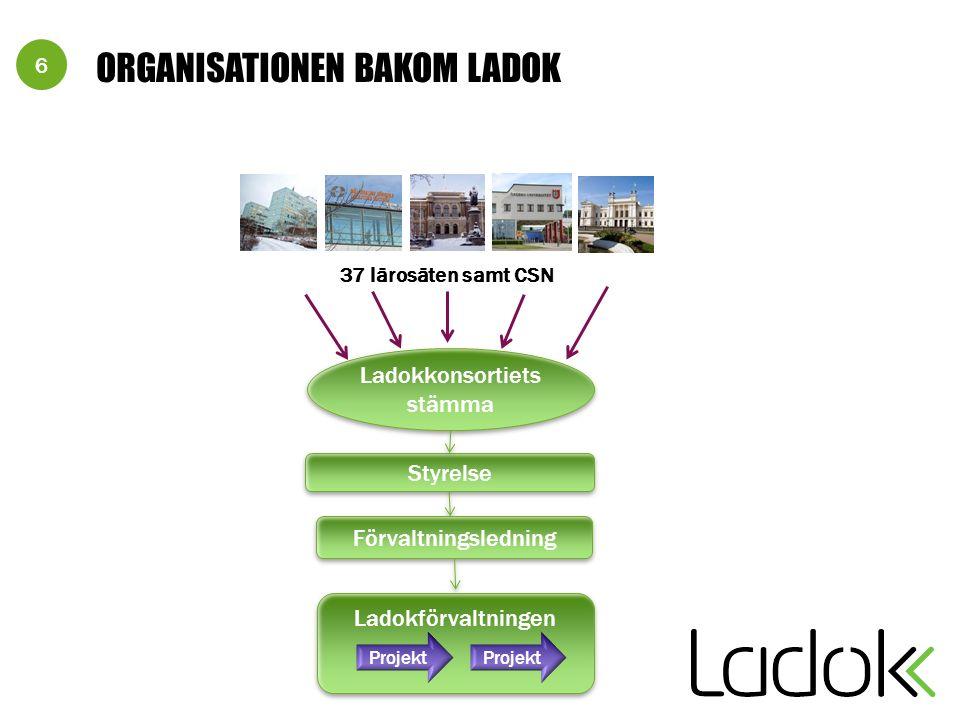 6 ORGANISATIONEN BAKOM LADOK Ladokförvaltningen Ladokkonsortiets stämma 37 lärosäten samt CSN Styrelse Förvaltningsledning Projekt