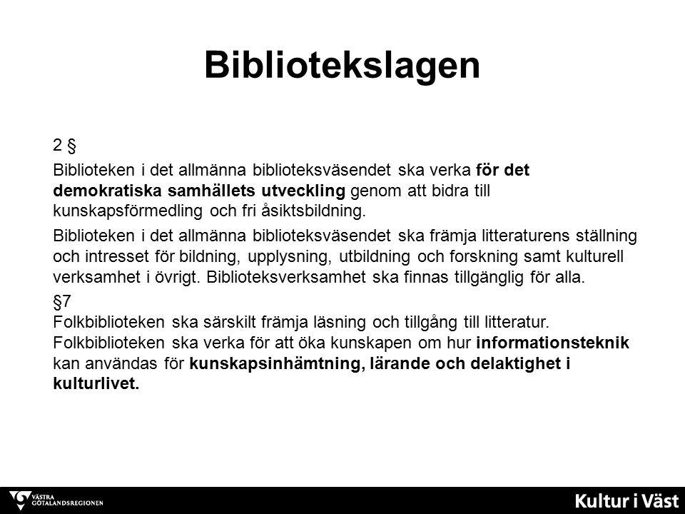Bibliotekslagen 2 § Biblioteken i det allmänna biblioteksväsendet ska verka för det demokratiska samhällets utveckling genom att bidra till kunskapsförmedling och fri åsiktsbildning.