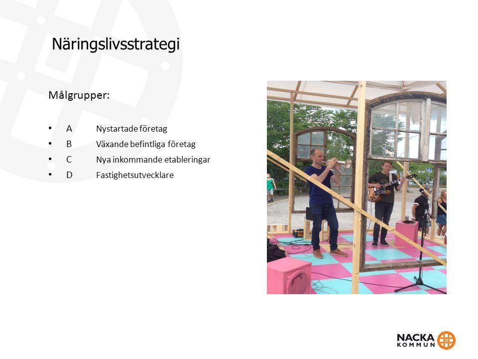 Näringslivsstrategi Målgrupper: A Nystartade företag B Växande befintliga företag C Nya inkommande etableringar D Fastighetsutvecklare