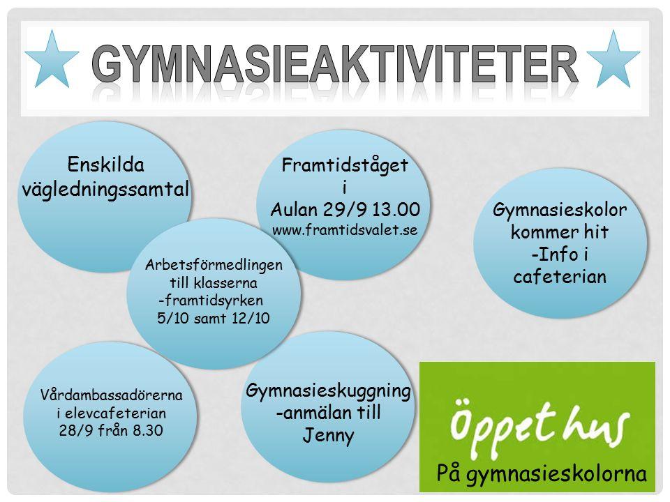 Enskilda vägledningssamtal Gymnasieskolor kommer hit -Info i cafeterian Framtidståget i Aulan 29/9 13.00 www.framtidsvalet.se Vårdambassadörerna i ele