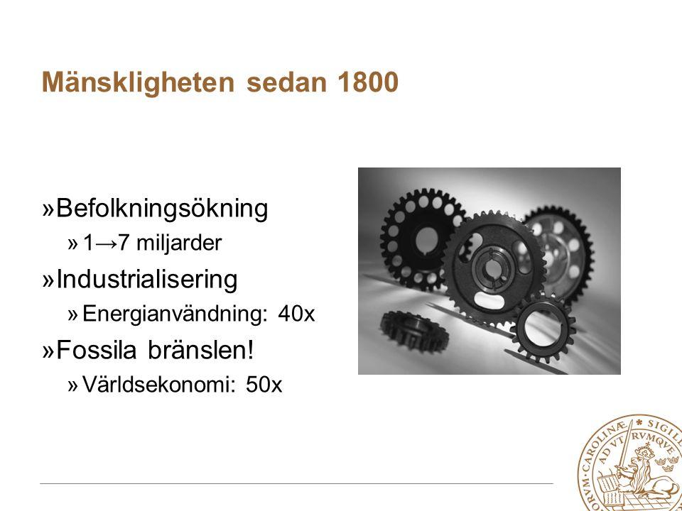 MERGE for GAC 19-20 May 2010 Mänskligheten sedan 1800 »Befolkningsökning »1→7 miljarder »Industrialisering »Energianvändning: 40x »Fossila bränslen.